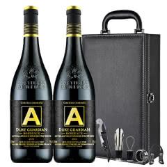 法国(原瓶原装)进口红酒AOP/AOC波尔多法定产区公爵守护者干红葡萄酒750ml*2礼盒