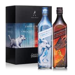 尊尼获加(JOHNNIE WALKER)洋酒 双支礼盒装 苏格兰进口调配威士忌700ml*2(权力的游戏-冰版&火版)又称(权利的游戏)