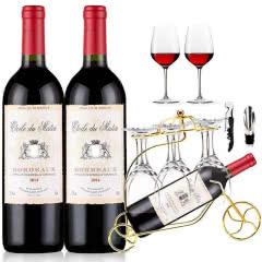 法国红酒原瓶进口波尔多法定产区AOC/AOP级干红葡萄酒送战车酒架酒杯礼包750ml*2瓶