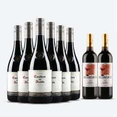 红魔鬼葡萄酒 智利原装原瓶进口红酒六支装 西拉/设拉子 750ml*6