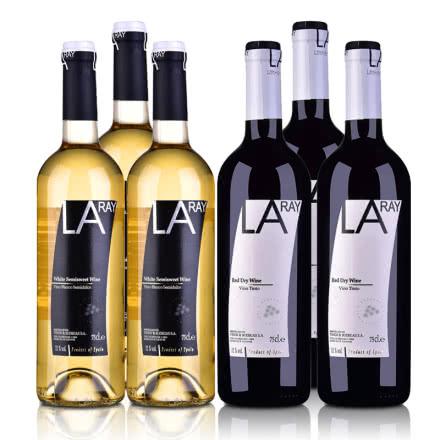西班牙拉伊尔葡萄酒750ml套装 (半甜白3支+干红葡萄酒3支)