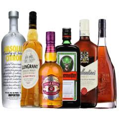 进口洋酒套装 伏特加 百龄坛 芝华士 野格 卡露邑 格兰冠 6瓶组合装