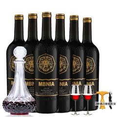 法国 玛贝尼卡 原酒进口红酒雕花瓶干红葡萄酒双支装赤霞珠 杯架醒酒器酒杯装