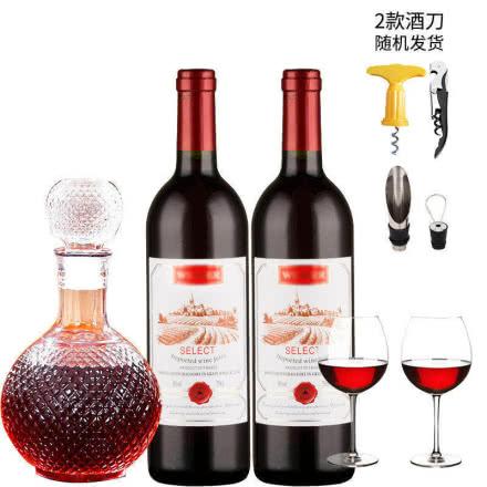 法国原酒进口红酒橡木桶精选赤霞珠半甜型干红葡萄酒送醒酒器酒具750ml*2瓶