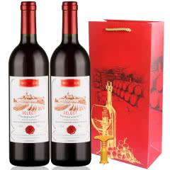 法国原酒进口红酒橡木桶精选赤霞珠半甜型干红葡萄酒750ml*2支礼袋装