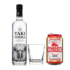 40°TAKI达奇伏特加700ml+四方古典洋酒杯+科罗斯德式经典拉格啤酒330ml(金罐)