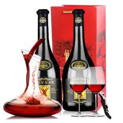 法国红酒进口红酒14度老藤珍酿赤霞珠慕依典藏浮雕手握干红葡萄酒送醒酒器酒具750ml*2瓶