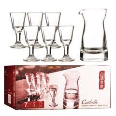 白酒杯烈酒杯套装 10ml中式玻璃小酒杯子 盒装(80ml分酒器*1+10ml小酒杯*6)