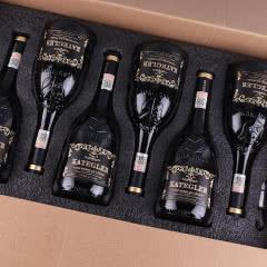 【礼品礼盒装】法国进口红酒15度老藤珍酿AOP级浮雕手握瓶干红葡萄酒 整箱750ml*6瓶