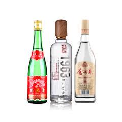 50°古井贡金古井500ml+55°西凤酒绿瓶500ml(裸瓶)+52°全兴(1963)500ml