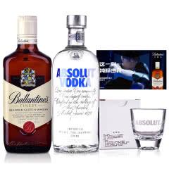 40°英国百龄坛特醇苏格兰威士忌500ml+ 40°瑞典绝对伏特加原味500ml(威士忌+伏特加调酒组合)