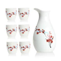 梅花陶瓷酒具套装(酒杯*6,分酒器*1)