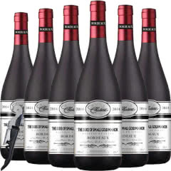 法国(原瓶原装)进口红酒波尔多AOC级法定产区公爵赤霞珠美乐干红葡萄酒750ml*6