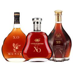 40°大瓶装2斤法国XO洋酒白兰地组合套餐 1000mL礼盒装烈酒*3瓶/盒