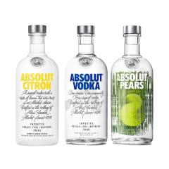 瑞典进口 绝对伏特加(Absolut Vodka)三支装(原味、苹果梨味、柠檬味)