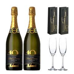 十二星品低度甜酒甜型起泡酒葡萄酒香槟气泡酒750ml*2(香槟杯酒具+礼袋套装)
