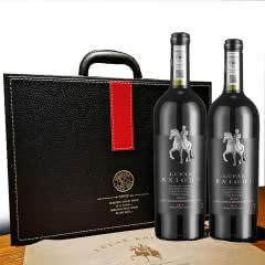 法国原瓶进口红酒 AOP级 路飞骑士干红葡萄酒皮质礼盒装750ml*2送开瓶器