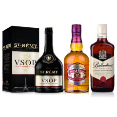40°英国百龄坛特醇苏格兰威士忌500ml+40°英国芝华士12年苏格兰威士忌500ml+圣雷米VSOP700
