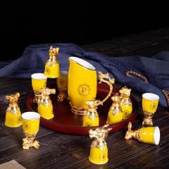 白酒杯小酒杯白酒分酒器套装十二生肖酒杯 (帝王黄)