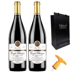 法国原酒进口红酒橡木桶酒堡甜红葡萄酒 甜型半干红葡萄酒750ml*2支礼袋装