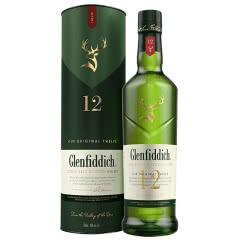 40°Glenfiddich格兰菲迪12年产单一麦芽苏格兰威士忌进口洋酒700ml礼盒装