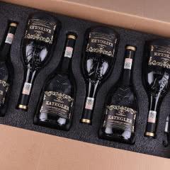 【红酒礼盒】法国进口红酒15度老藤珍酿AOP级浮雕手握瓶干红葡萄酒整箱750ml*6支