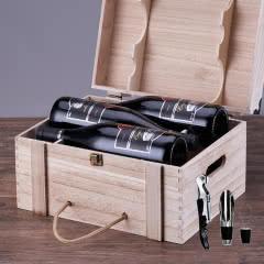 法国红酒进口红酒14.5度老藤珍酿酒堡干红葡萄酒木箱礼盒装 整箱750ml*6瓶