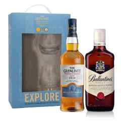 40°英国格兰威特单一麦芽苏格兰威士忌创始人甄选系列700ml单支礼盒(内含酒杯*2)+40°英国百龄坛特醇苏格兰威士忌500ml