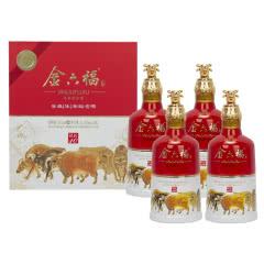 52°金六福 牛年生肖纪念铭匠10 浓香型白酒 500ml*4瓶礼盒装