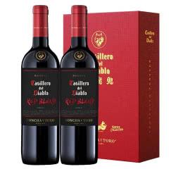 智利进口红魔鬼黑金珍藏红葡萄酒750ML双支礼盒装